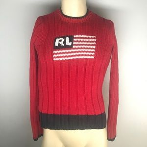 Vintage Women's Polo Ralph Lauren Flag Sweater